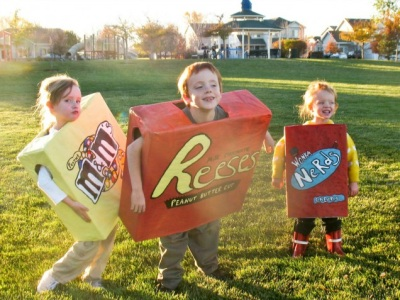 Candy costumes made out of a box