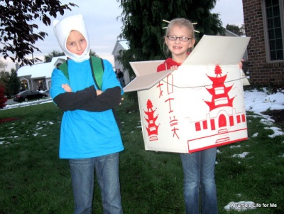 Take-out food costume made from a box