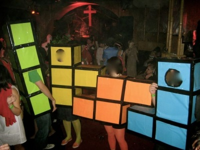 Tetris costume made from boxes