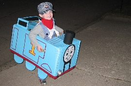 Thomas the Train costume made out of a box