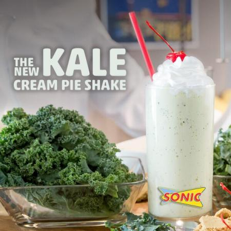 For April Fools' Day 2014, Sonic introduced kale cream pie shakes