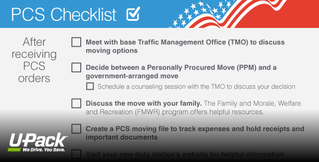 pcs checklist for military moving