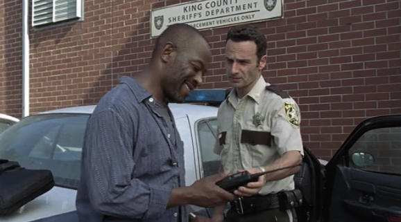 Rick gives Morgan a way to communicate with him.