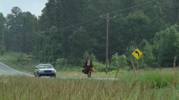 Rick's police car runs out of gas.