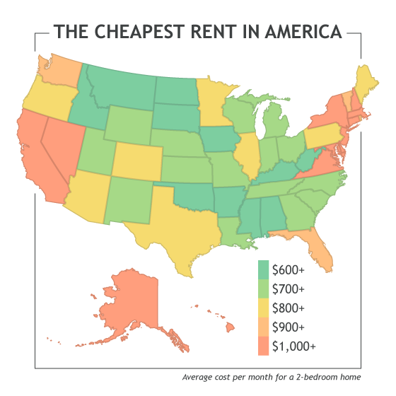 Where to find the cheapest rent in america u pack Cost of living in different states in usa