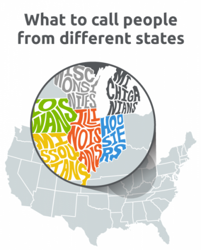 Find out what you call people from different states in the US.