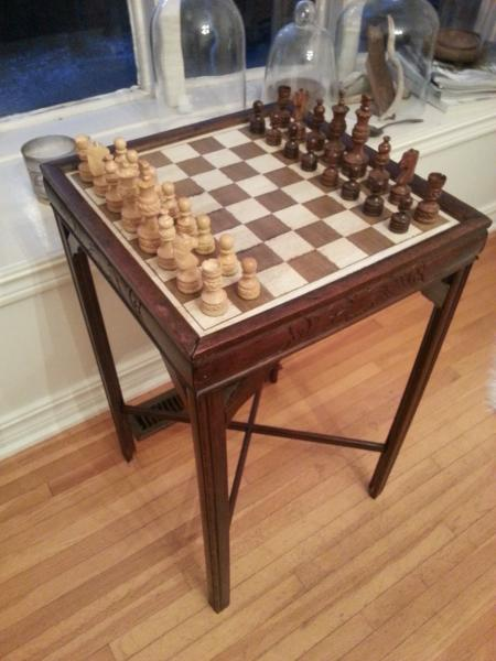 Thrift shop table made into a chess table