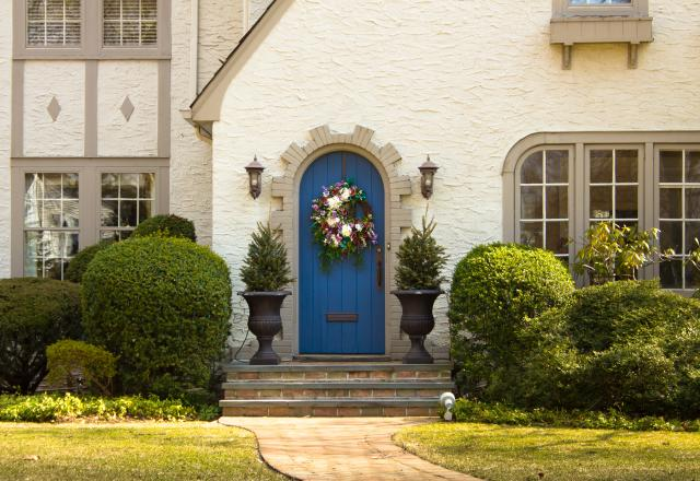a front door wreath adds appeal to the outside of the home