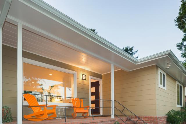 bright colored furniture front porch curb appeal