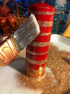 Glam up a Christmas candle with glitter.