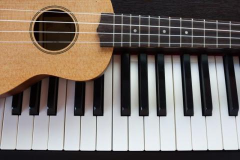 Pictures of guitars and pianos