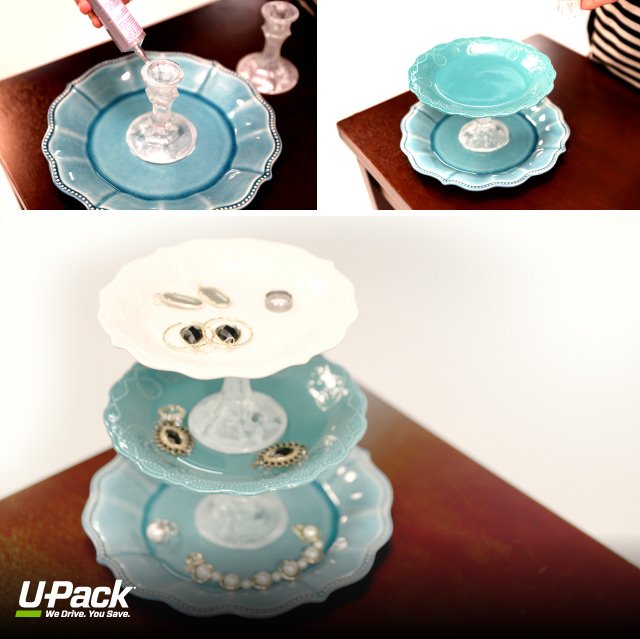 Make your own graduation gift with plates and candlesticks - a jewelry holder.