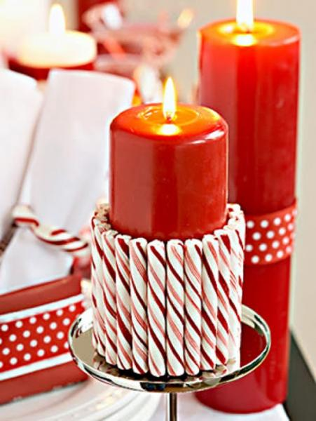Cover a candle with peppermint sticks for a festive decoration.