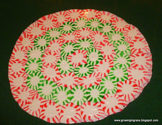 Make a unique Christmas tray out of peppermints.