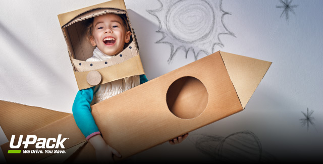 Used moving boxes are great for keeping kids active indoors this summer.